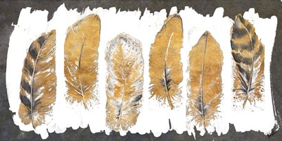 Gold Watercolor Feathers by Patricia Pinto art print