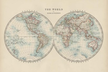 World in Hemispheres by Walt Johnston art print