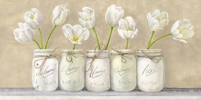 White Tulips in Mason Jars by Jenny Thomlinson art print