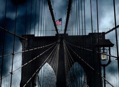 Stars and Stripes on Brooklyn Bridge by Thomas Juul art print