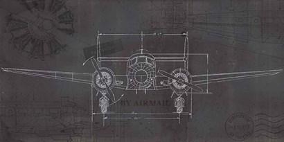 Plane Blueprint IV Wings by Marco Fabiano art print