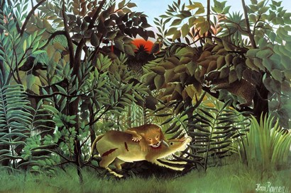 The Hungry Lion by Henri Rousseau art print