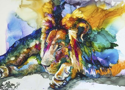 Lion Around by Art by Leslie Franklin art print