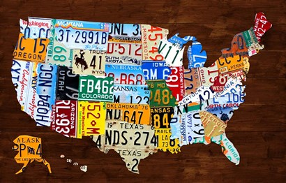 United States of America License Plate Map 2018 by Design Turnpike art print