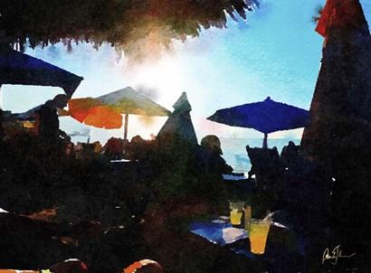 Sunset Umbrellas by Pamela A. Johnson art print