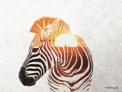 Zebra with Sun by Andreas Lie art print
