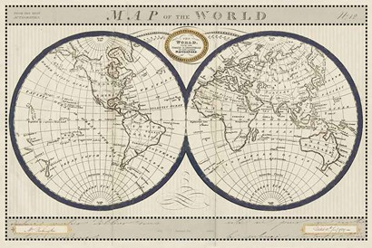 Torkingtons World Map with Indigo by Sue Schlabach art print