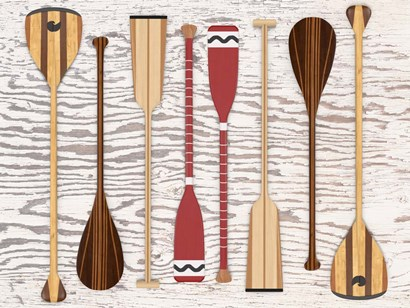 Canoe, Paddles & Oar by Edward M. Fielding art print