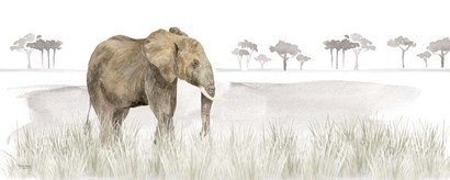 Serengeti Elephant horizontal panel by Tara Reed art print