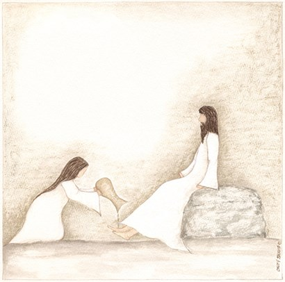 Woman Anoints Jesus with Perfume by Cindy Shamp art print