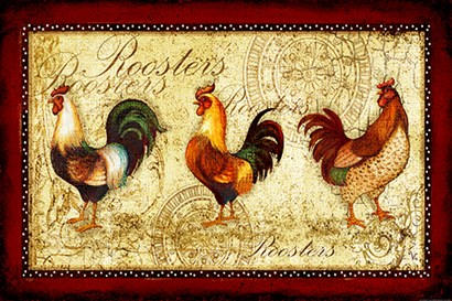 Rooster Trio by Yellow Café art print