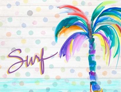 Surf Near the Palm Tree by Julie DeRice art print