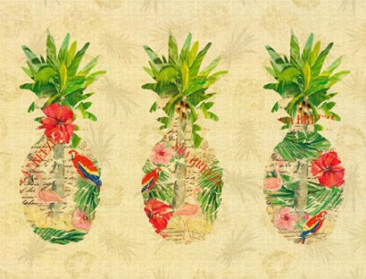 Triple Tropical Pineapple Collage by Julie DeRice art print