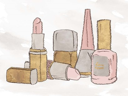 Pink Pastel Makeup Set by Elizabeth Medley art print