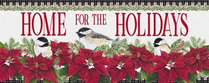 Chickadee Christmas Red - Home for the Holidays horizontal by Tara Reed art print