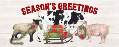 Christmas on the Farm - Seasons Greetings by Tara Reed art print