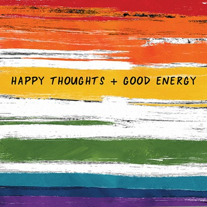 Happy Thoughts Rainbow by Linda Woods art print
