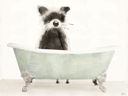 Vintage Tub with Racoon by Stellar Design Studio art print