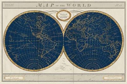Torkingtons World Map Indigo Globes by Sue Schlabach art print