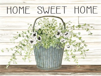 Home Sweet Home Galvanized Bucket by Cindy Jacobs art print