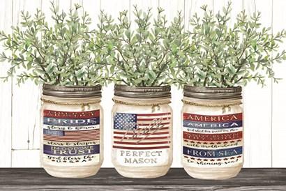 Patriotic Glass Jar Trio I by Cindy Jacobs art print