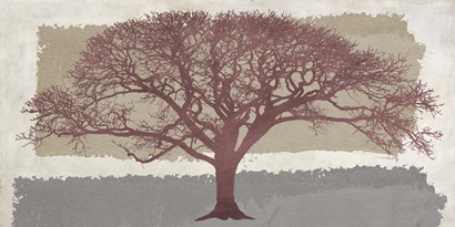 Burgundy Tree on abstract background by Alessio Aprile art print