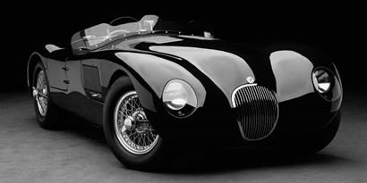 1951 Jaguar C-Type (BW) 1 by Don Heiny art print