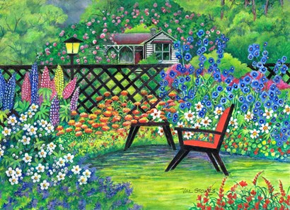 Garden Retreat by Val Stokes art print
