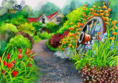 Rustic Gardens by Val Stokes art print