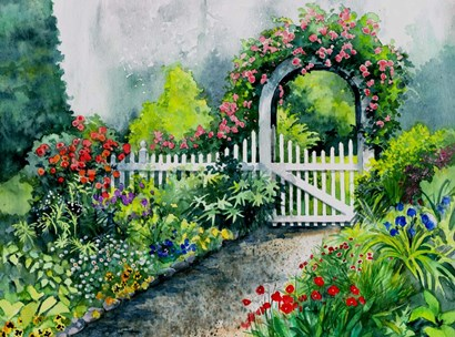 Summer Garden Gate by Val Stokes art print