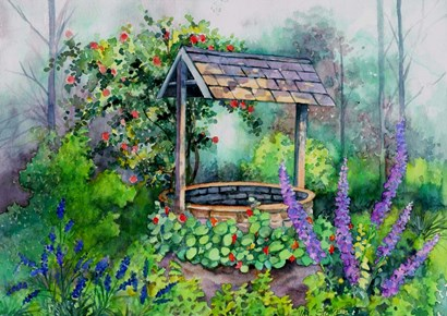 The Wishing Well by Val Stokes art print