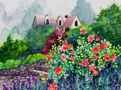 Up The Garden Path by Val Stokes art print