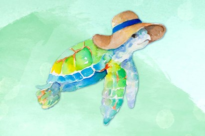 Turtle With Hat on Watercolor (blue) by Lanie Loreth art print