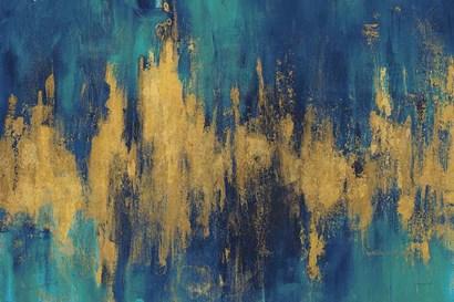 Blue and Gold Abstract Crop by Danhui Nai art print