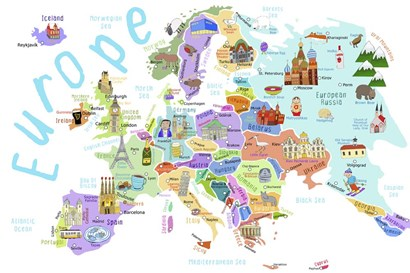 Illustrated Countries of Europe by Carla Daly art print