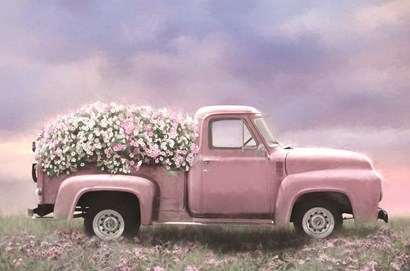Pink Floral Truck by Lori Deiter art print