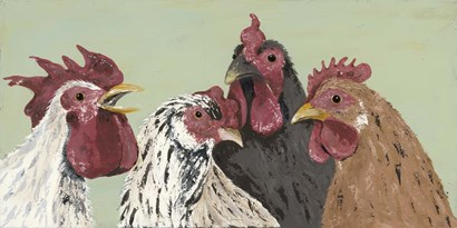 Four Roosters by Jade Reynolds art print