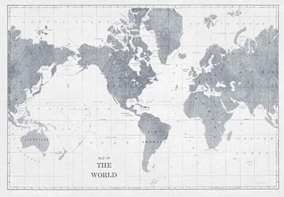 World Map Gray No Words by Sue Schlabach art print