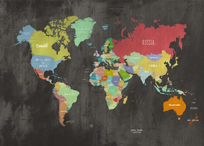 Modern Map of the World (Chalkboard) by Joannoo art print