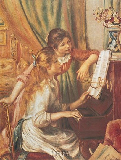 Two Young Girls at the Piano by Pierre-Auguste Renoir art print