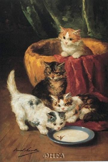 The Milk Dish by Alphonse Marie De Neuville art print