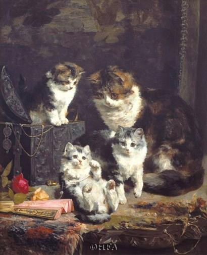 Kittens by Charles Van den Eycken art print