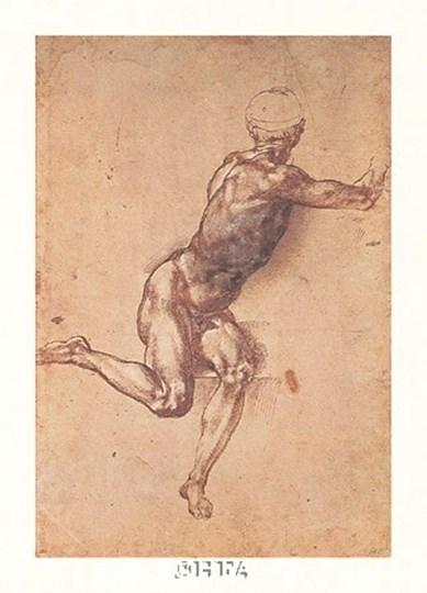 Study of a Seated Male Figure by Michelangelo Buonarroti art print