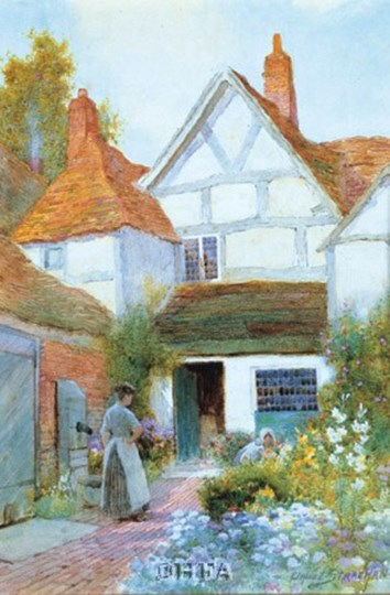 Cottage Garden by C. Strachan art print