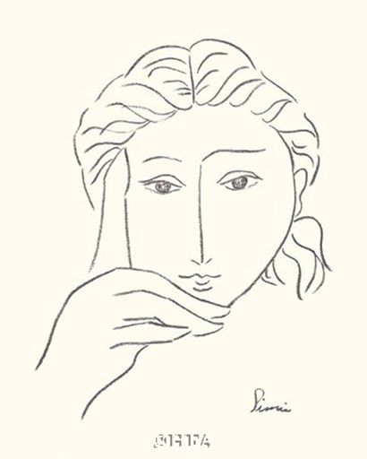 Woman's Face Sketch I by Simin Meykadeh art print