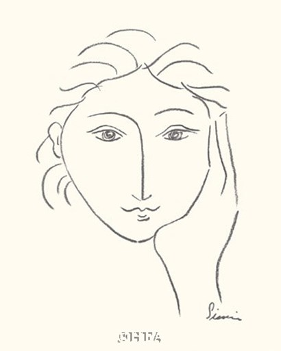 Picasso Line Drawing Face : Woman s face sketch ii fine art print by simin meykadeh at