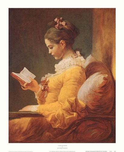 A Young Girl Reading by Jean-Honore Fragonard art print