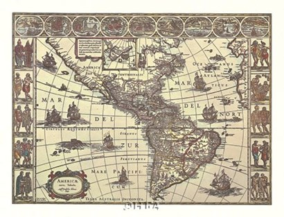 Map of North and South America by Willem Jan Blaeuw art print