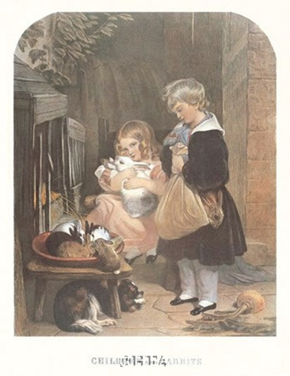Children and Rabbits by Sir Edwin Henry Landseer art print