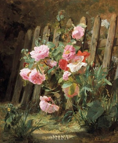 Pink Roses by a Garden Fence by Alfred-frederic Lauron art print
